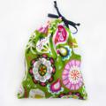 Christmas Gift Bag - Reusable & Eco Friendly. Fabric Xmas Bag. Green Ornaments.