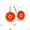 Leverback earrings - Retro flowers in orange - Vintage patterns in