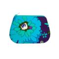 Coin purse - Vintage fabric - Retro floral in blue, aqua, purple & green