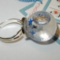 Blue and Silver Stars Bubble Ring/ Snow Globe Ring/  Stars in glass Dome