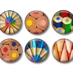 Fridge magnets - 'Pencils' coloured pencils fridge magnet set.
