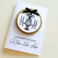 New home gold glitter lush crystals black chandelier congratulations card