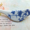 Blue Vine Leaves Ceramic Brooch