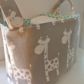 Divided Diaper Caddy - Giraffe Taupe with Aqua Dots