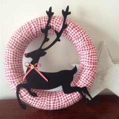 READY TO SHIP for Christmas wreath with reindeer