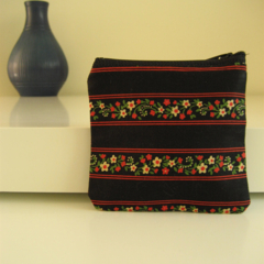 BUSHFIRES Navy green red and cream floral print coin purse with zipper