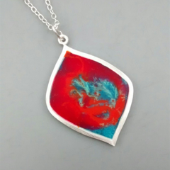 Psychedelic Resin and Sterling Silver Pendant