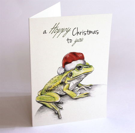 Christmas Card with Frog wearing Santa hat, Growling Grass Frog