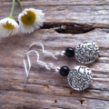 Black Onyx & Tibetan Bead Earrings