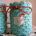 Set of 3 Hand Crochet Covered Jars for Christmas