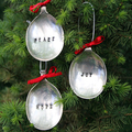 Vintage Silver Spoon Christmas Ornament / Decorations Set of 3