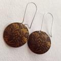 Vintage Brown Floral Earring