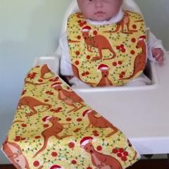Aussie Christmas Kangaroo Bib and Burp cloth set - Medium.