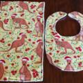 Aussie Christmas Kangaroo Bib and Burp cloth set - Small.