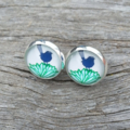 Glass dome stud earrings - Little Blue Bird