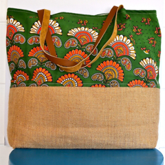 SOLD Extra Large, Indian Screen Print Cotton Shopping, Tote