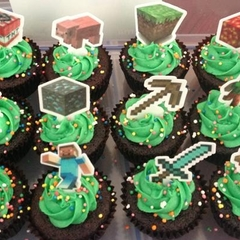 12x EDIBLE wafer  minecraft cupcake toppers