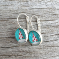 Glass dome hoop earrings - Christmas Tree on blue