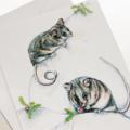 Mountain Pygmy Possum greeting card, Australia wildlife art,grasshopper, berries