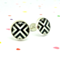 Mini resin stud earrings - Black & white arrow triangles - Surgical steel posts