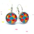 Leverback earrings - Geometric aqua, yellow, orange triangles - Resin