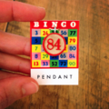 Bingo Marker pendants made from vintage wooden game markers