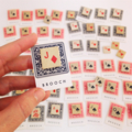 'Playing card symbol' brooch/badge made from vintage game tiles