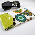 Peggy-Sue Glasses/Pencil Case - Retro Flowers with stripe spots on apple green