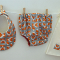 Funky Geo Foxes - Bib and Nappy Cover, gift set