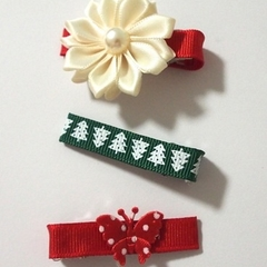 3pk Christmas Theme Hair Clips with butterfly