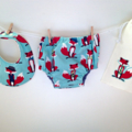 Fox Bib and Nappy Cover, gift set