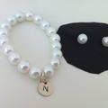 Little girl pearl stud and initial bracelet gift set, xmas gift, Flowergirl gift
