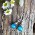 Sky Blue Mexican Opal Gemstone & Tibetan Bead Earrings
