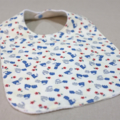 baby bib - trains / blue red cream white / organic cotton and bamboo towelling