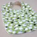 baby bib - sheep / sage green grey white / organic cotton and bamboo towelling