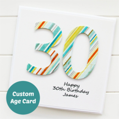 Any Age Personalised Birthday Card, Custom Made Birthday Card For Her For Him