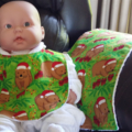 Aussie Christmas Wombat  Bib and Burp cloth set - Small.