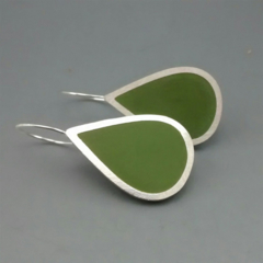 Large Olive Green Pear Shaped Earrings