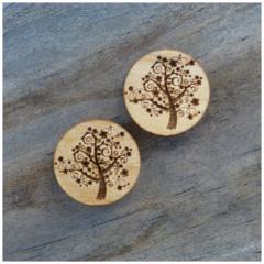 Laser Cut Wooden Tree Earrings