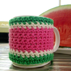 Coffee mug cosy crochet coffee mug cover watermelon colours