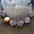 Geometric Wood Bead Necklace - Walnut/Gold