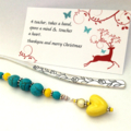 turquoise and yellow bookmark with ceramic heart charm. teachers gift.