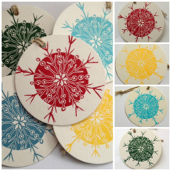 Christmas snowflake linocut letterpress gift tags , pack of 5