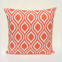 Retro Tangelo Orange & White Small Teardrop Cushion Cover  - Retro Cushions