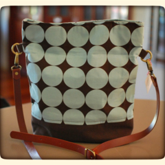 Foldover Crossover Bag in Blue Large Dots