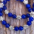 Vivid Blue Sapphire Gemstone Bead Bracelet Set