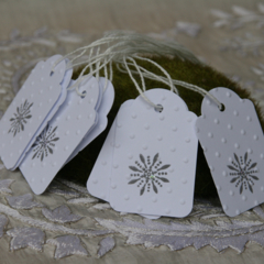 18 Snowflake Tags Christmas Tags Winter Princess Party Tags Snowflake White Tags