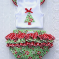 Christmas Baby Girl Singlet and Ruffle Nappy Pants / Cover Matching Set Sz 1