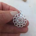 Rhodium Lace Flower (short) Earrings