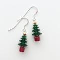 Sterling Silver & Swarovski Crystal Christmas Tree Earrings - Dark Green